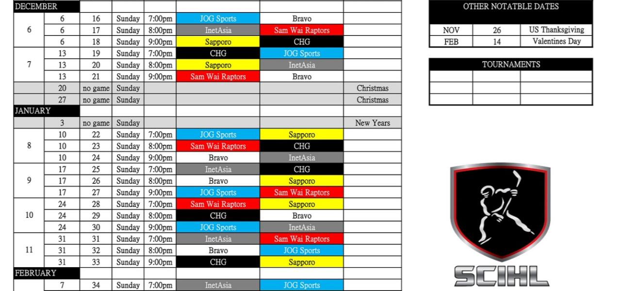 The 2020-21 Season Schedule